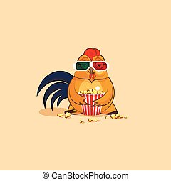 Emoji character cartoon Cock is watching movie