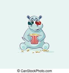 Emoji character cartoon Hippopotamus chewing popcorn, watching movie