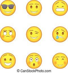 Emoji character icons set, cartoon style