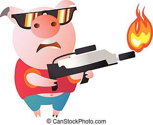 Emoji character Pig with flamethrower. Symbol of the new...