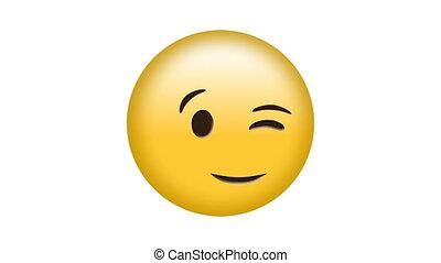 emoji, cligner, engendré, vidéo, numérique