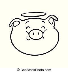 emoji, cochon, pour, coloration, book.