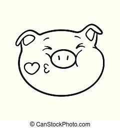 emoji, coloration, book., cochon