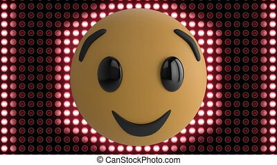 emoji, digitale , het glimlachen, lichten, gloeiend, achtergrond, op, rood, animatie, display, rijen
