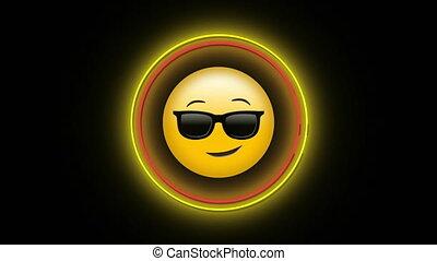 emoji, digitale , neon, koel, pictogram, zonnebrillen, animatie, het flakkeren