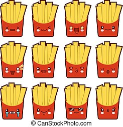 Emoji emoticon french fries with a lot of variation Set of kawaii face french fries emoticons. Isolated on white background. Flat design Vector Illustration