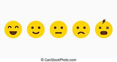 emoji, emoticon., reacción, diferente, emotions., sonrisa, amarillo, conjunto, vector, icon.