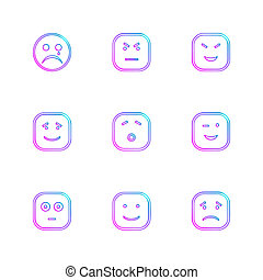 emoji , emoticon , smiley ,eps icons set vector