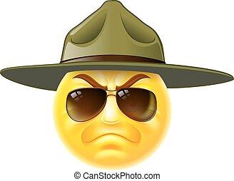 emoji, emoticon, taladro, sargento