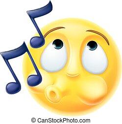 Emoji Emoticon Whistling Tune Happily - A cartoon emoji...