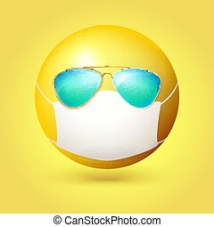 Emoji emoticon with medical mask and sunglasses on face. Vector 3d illustration isolated on yellow background