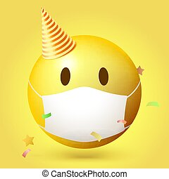 Emoji emoticon with medical mask on face. Emoji icon in the party hat. Confetti floats around it. Vector 3d illustration isolated on yellow background