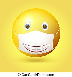 Emoji emoticon with medical mask on face. Smiling mouth painted on a mask. Vector 3d illustration isolated on yellow background