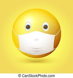 Emoji emoticon with medical mask over mouth and nose. Vector 3d illustration