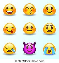 emoji., emoticons., ensemble