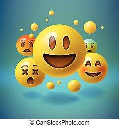 emoji, emoticons, medios, concept., smiley, social
