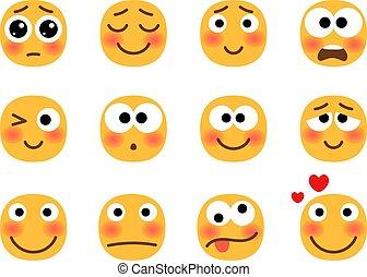 emoji, ensemble, embarrassé