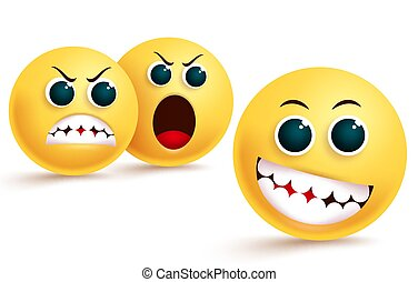Emoji envy and confidence vector design. Smiley emoticon in silly and teasing facial expression with angry, dislike and shouting emojis behind.