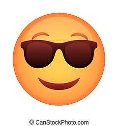 emoji face classic with sunglasses flat style icon