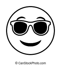 emoji face classic with sunglasses line style icon