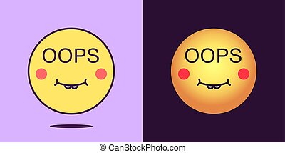 Emoji face icon with phrase Oops. Silly emoticon with text ...