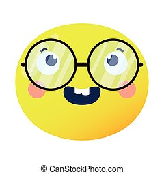 emoji face laughing with eyeglasses flat style icon