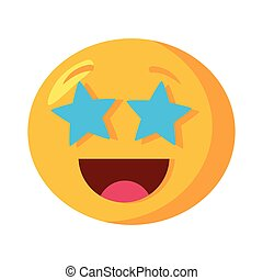 emoji face laughing with stars eyes flat style icon