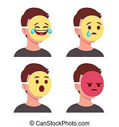 Emoji face mask - Person with emoji mask covering face. ...
