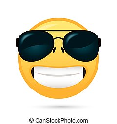 emoji face with sunglasses funny character