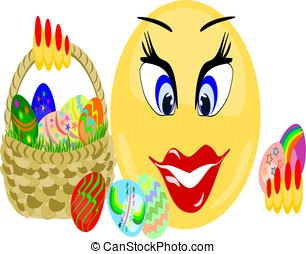 Emoji female holding basket of Easter eggs