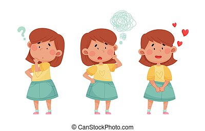 Emoji Girl with Different Face Expressions Vector Set