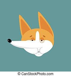 emoji., haustier, hund, gefuehle, avatar., ill., vektor, abbildung, krank, corgi, übelkeit