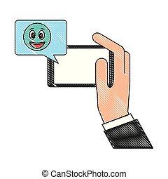 emoji, heureux, smartphone, bavarder, main