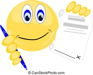Emoji holding paper to sign with pen