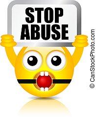 Emoji holds sign Stop Abuse