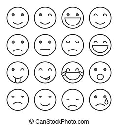 emoji, iconos simples, caras