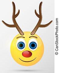 emoji, illustration., smiley., renne, vecteur, emoticon