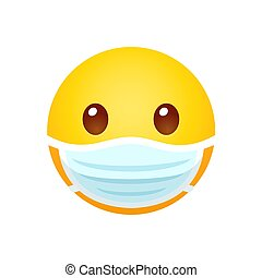 Yellow emoji in face mask. Disease protection and sickness prevention, cartoon emoticon. Isolated vector clip art illustration.