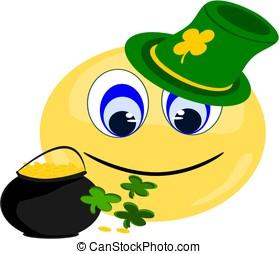 Emoji Irish with pot of gold