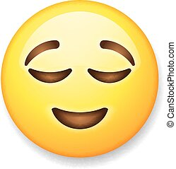 Emoji isolated on white background, emoticon relieved face,...