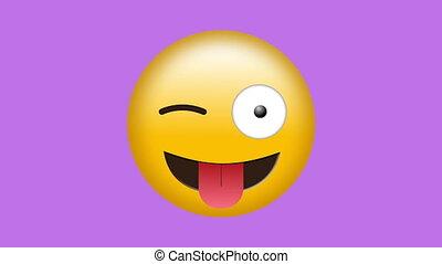 emoji, langue, cligner, dehors, collage