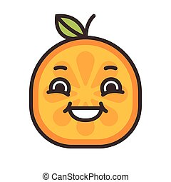Emoji - laughing orange smile. Isolated vector.