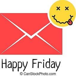 emoji, lycklig, meddelande, fredag, full