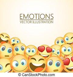emoji, moderno, tre, giallo, emozioni, fondo, vettore, illustrazione, ridere