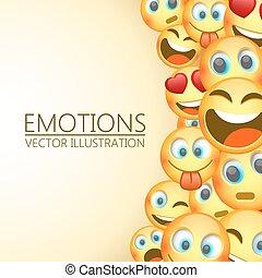 emoji, moderno, tre, giallo, ridere, emotions.