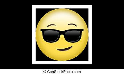 emoji, ożywienie, okulary, żółty