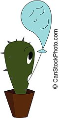 Emoji of a cute cactus plant with its mouth wide opened and holding a blue balloon expressing a depressed face vector color drawing or illustration