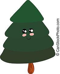 Emoji of a cute spruce tree vector or color illustration