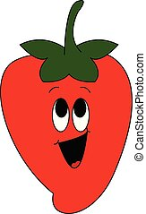 Emoji of a laughing red strawberry vector or color illustration