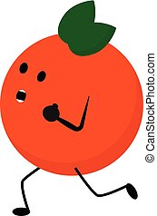 Emoji of a running orange fruit vector or color illustration